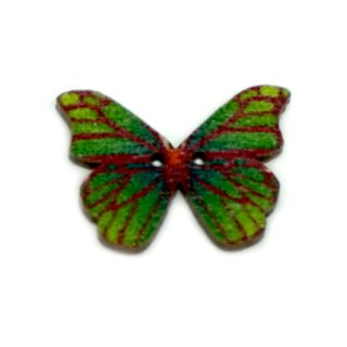 6 Schmetterlings Holzknöpfe Grün mit roten Streifen 28mm