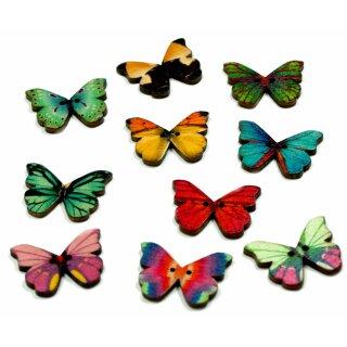 12 Schmetterlings Knöpfe Farbmix aus Holz 28mm