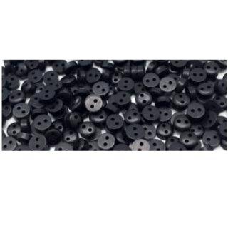 50 Mini-Knöpfe 6mm in Schwarz 2-Loch Kunststoff