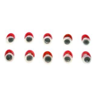10 Wackelaugen Oval Rote Wimpern Selbstklebend