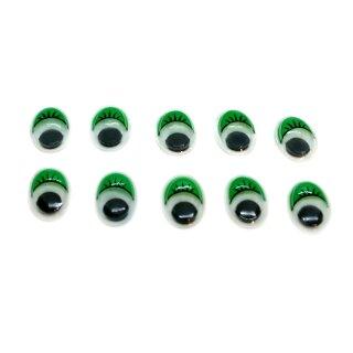 10 Ovale Wackelaugen Selbstklebend in Grün