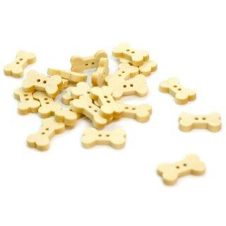 30 Hunde-Knochen Holzknöpfe Natur 18mm