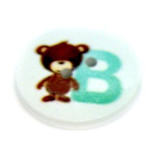 """Buchstaben Knöpfe """"B"""" weiß lackiert aus Holz 2cm"""
