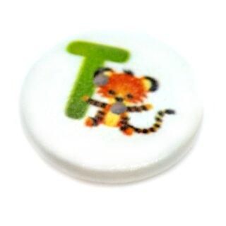 """Buchstaben Holzknöpfe """"T"""" 2-Loch weiß lackiert 20mm"""