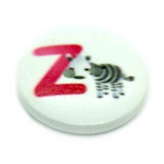 """Buchstaben Knöpfe """"Z"""" aus weiß lackiertem Holz"""