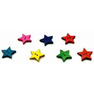 10 Sterne Holz-Knöpfe Farbmix 24mm