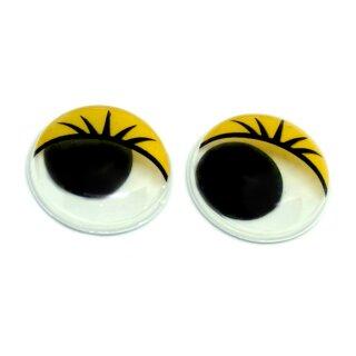 10 Wackelaugen Gelbe Wimpern 10mm Selbstklebend