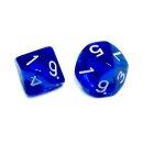 2er Set W10 Würfel Transparent-Blau mit Zahlen 1-10