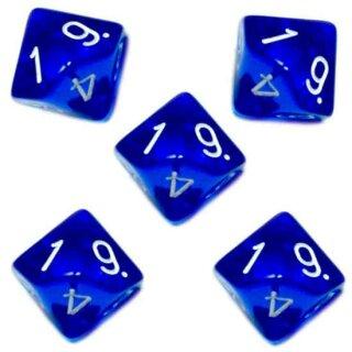 5er Set 10-Seitige Würfel Transparent-Blau Zahlen 1-10