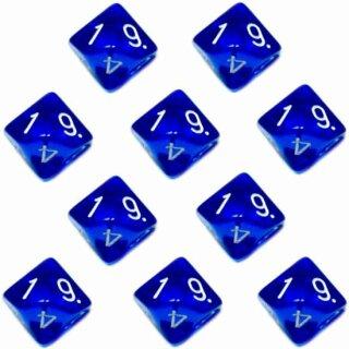 10er Set 10-Seitige Würfel Transparent-Blau Zahlen 1-10
