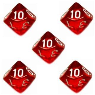 5er Set 10-Seitiger Würfel Transparent-Rot Zahlen 1-10