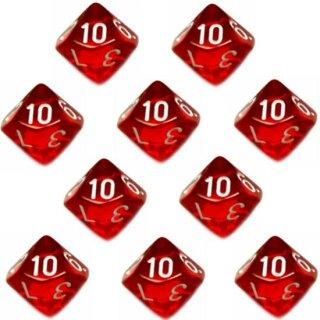 10er Set 10-Seitiger Würfel Transparent-Rot Zahlen 1-10