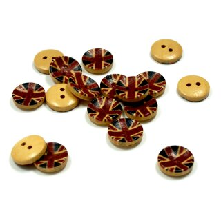 20 Runde Holzknöpfe mit England-Flagge GB Junion Jack 13mm
