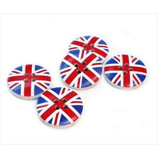 10 Große Holzknöpfe mit England-Flaggenaufdruck GB