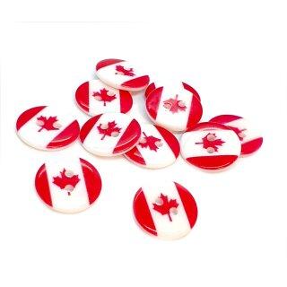 10 Runde Knöpfe mit Kanada-Flaggen 17mm