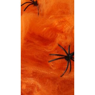 Spinnen-Netz + 2 Spinnen zu Halloween in Orange