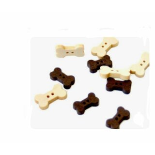 30 Knochen-Knöpfe im Hell-& Dunkelbraun Farbmix