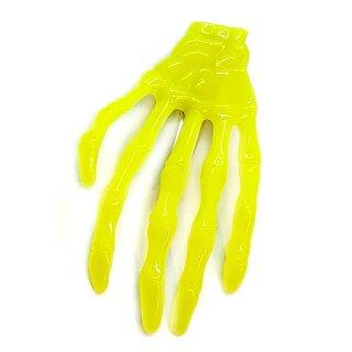 Skeletthand-Haarspange in Neon-Gelb 75mm