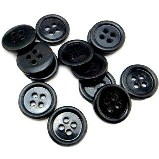 4-Loch-Knöpfe mit Rand 2cm in Schwarz Kunststoff