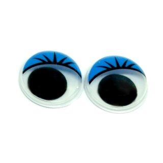 6 Wackelaugen blaue Wimpern 2cm Selbstklebend