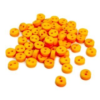 50 Mini-Knöpfe 6mm in Dotter-Gelb 2-Loch Kunststoff