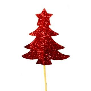 Cupcake-Topper Weihnachtsbaum Glitter Rot