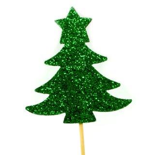 Cupcake-Topper Weihnachtsbaum Glitter Grün