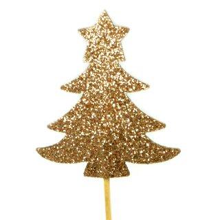 Cupcake-Topper Weihnachtsbaum Glitter Gold