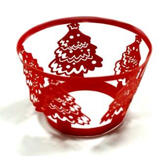 Weihnachtsbäume Rot Cupcake Muffin Deko