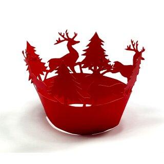 Weihnachtslandschaft mit Hirsch Rot Muffin Deko