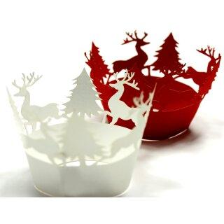 Weihnachtslandschaft mit Hirsch Weiß Muffin Deko