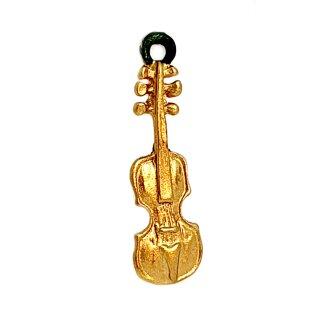 Mini Geige Anhänger goldfarben lackiert