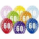 Ballons 60. Geburtstag Bunt mit Zahlen einzeln