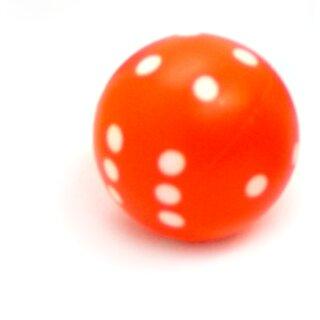 Runde Würfel bunt mit Punkten Neon-Orange - Weiß