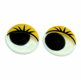100 Wackelaugen 8mm mit Wimperndruck selbstklebend Gelb