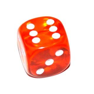 Transparent-Bunte W6 Würfel 15mm mit Punkten Orange
