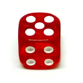 Transparent-Rot W6 Würfel 16mm mit Punkten