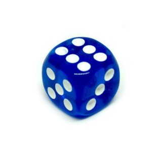 Transparent-Dunkel-Blau W6 Würfel 16mm mit Punkten
