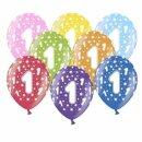 Bunte Ballons 1. Geburtstag mit Zahlen Orange