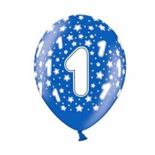 Bunte Ballons 1. Geburtstag mit Zahlen Dunkel-Blau