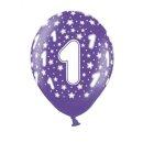 Bunte Ballons 1. Geburtstag mit Zahlen Lila