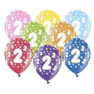 Bunte Ballons 2. Geburtstag mit Zahlen Gelb