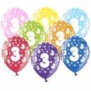 Bunte Ballons 3. Geburtstag mit Zahlen Gelb