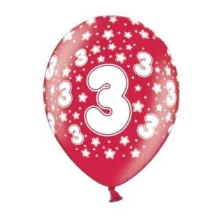 Bunte Ballons 3. Geburtstag mit Zahlen Rot