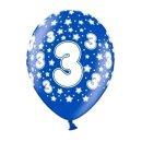 Bunte Ballons 3. Geburtstag mit Zahlen Dunkel-Blau