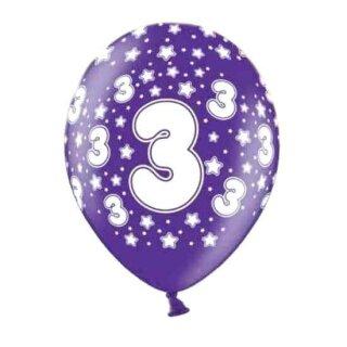 Bunte Ballons 3. Geburtstag mit Zahlen Lila