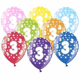 10 Bunte Ballons 3. Geburtstag mit Zahlen Gelb