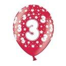 10 Bunte Ballons 3. Geburtstag mit Zahlen Rot