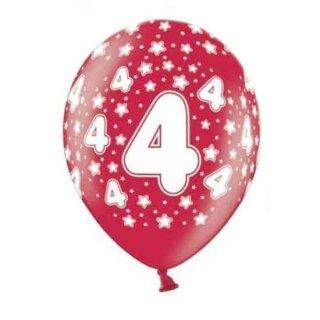 Bunte Ballons 4. Geburtstag mit Zahlen Rot