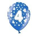 Bunte Ballons 4. Geburtstag mit Zahlen Dunkel-Blau